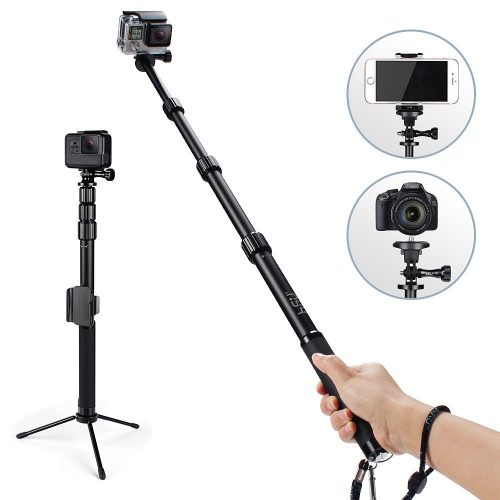 HSU Handheld Monopod Extension Pole With Phone Clip Holder, Tripod Stand, Waterproof Selfie Stick for GoPro Hero 6/5 Black/ Session, Digital Cameras and Cell Phone | Extendable At 44''