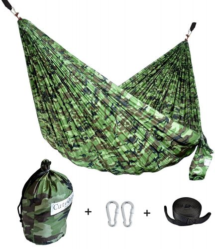 CUTEQUEEN TRADING Single Nest Parachute Nylon Fabric Hammock with Tree straps; Color: Camouflage
