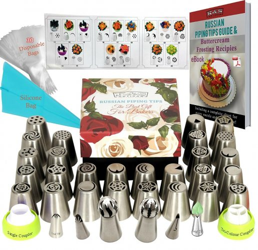 DELUXE Russian Piping Tips 66pcs EXTRA LARGE Baking Supplies Set 27- Cake Decorating Kit