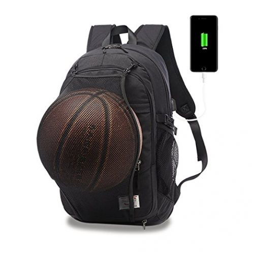 LUKATU Casual Laptop Backpack College Backpack with Basketball Net - Basketball Bags