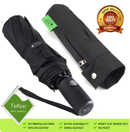 """Outdew """"Unbreakable"""" Windproof Compact Travel Black 210T Fabric Umbrella with Teflon Coating Lightweight for Men Women and Kids Auto Open Close with 10 fiberglass ribs - Compact umbrella"""