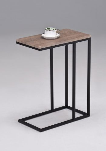 Reclaimed Wood Look Finish Chrome Snack Side End Table.