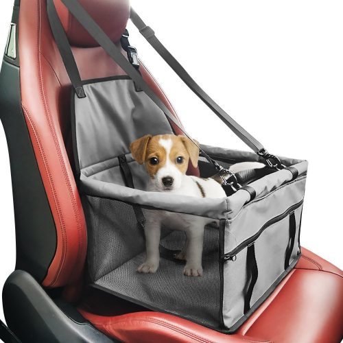 Pet car Booster Seat Carrier, Portable foldable Pet car seat cover Carrier with seat belt for Dog Cat Puppy Kitty up to 25lbs