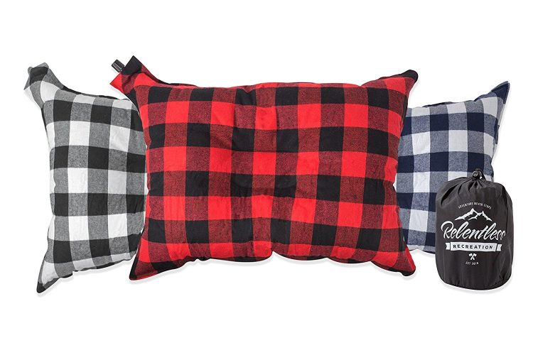 Big & Cozy Camp Pillow | Extra Large 20 in. by 14 in. Inflatable Travel / Camping Pillow with Soft Microfiber Flannel | The Big Ezzz by Relentless Recreation
