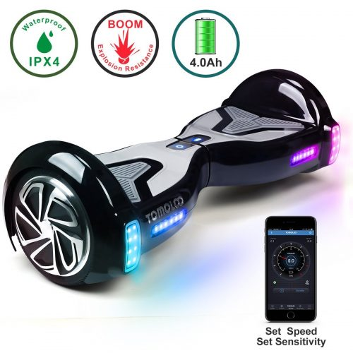 TOMOLOO Hoverboard with Bluetooth Speaker Smart Scooter Two-Wheel Self Balancing Electric Scooter and Lights - Black Hover Board with UL2272 Certified for for Adults and Children