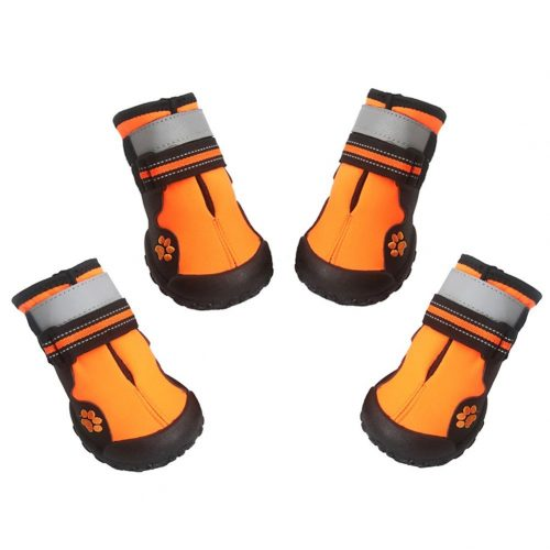 Dog Boots Waterproof Shoes with Reflective and VelcroRugged Velcro Anti-Slip Sole,4pcs