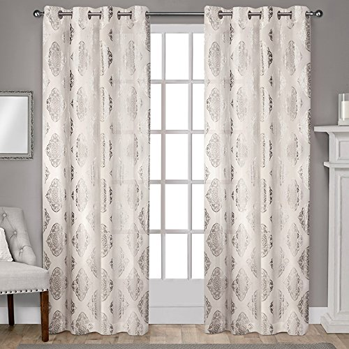 """Exclusive Home Curtains Augustus Grommet Top Window Curtain Panel Pair, 96"""" Length, Off-White, 2 Piece"""
