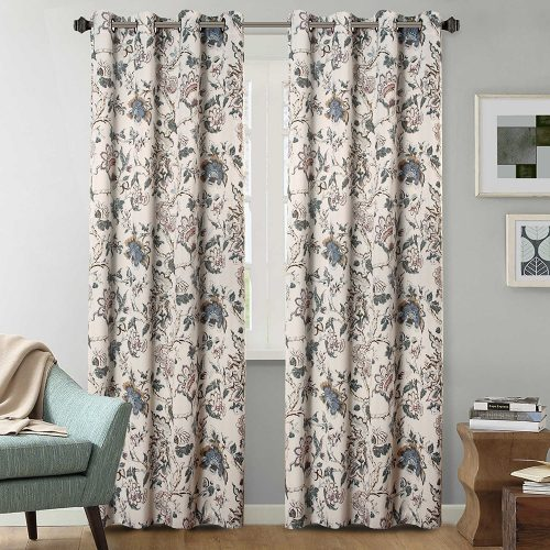 H.Versailtex Thermal Insulated Blackout Window Room Grommet Indoor Curtains-52 inch Width by 96-inch Length-Set of 2 Panels-Vintage Floral Pattern in Sage and Brown