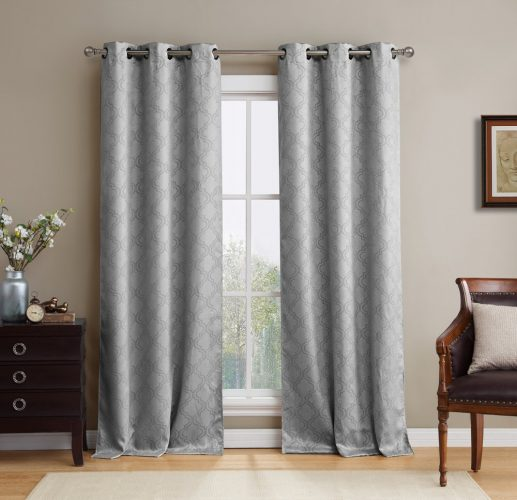 """HLC.ME Lattice Thermal Room Darkening Energy-Efficient Blackout Curtains for Bedroom - Set of 2 - 96"""" inch Long (Light Grey)"""