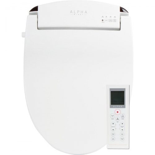 ALPHA JX Elongated Bidet Toilet Seat, White, Endless Warm Water, Rear and Front Wash, LED Light, Quiet Operation, Easy Wireless Remote Control, Low Profile Sittable Lid, 3 Year Warranty