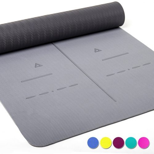 """Heathyoga Eco Friendly Non Slip Yoga Mat, Body Alignment System, SGS Certified TPE Material - Textured Non Slip Surface and Optimal Cushioning,72""""x 26"""" Thickness 1/4"""