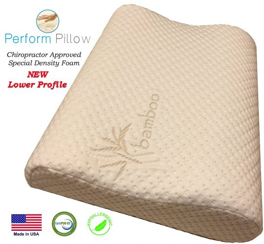 Perform Pillow Thin Profile Memory Foam Neck Pillow - Double Contour - Chiropractor Approved - Washable Soft Bamboo Cover - Great for Neck Pain, Sleeping (Thin Profile)