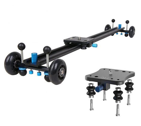 "A&J ANJMVSL80 Camera Slider with Aluminum Alloy 4 Wheels Video Rail Track Slider Dolly Stabilizer for Canon Nikon Sony DSLR camera, 31.5"", Black - Camera slider"