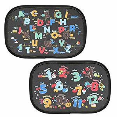 Intipal Pack of 2 Static Cling Baby Car Window Sun Shade - Auto Sunshades Protector with Cartoon Pattern to Block Damaging UV Rays & Bright Sunlight & Heat for Kids Child Pets (Letters & Numbers) - Car Window Sunshades