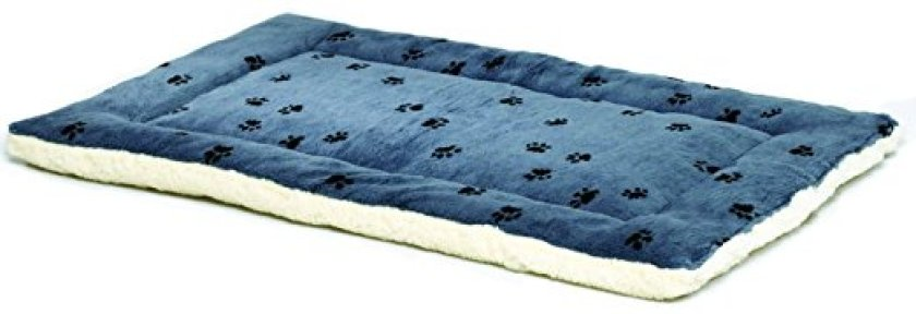 Reversible Paw Print Pet Bed in Blue & White Synthetic Fur for Dogs & Cats - Cat Beds