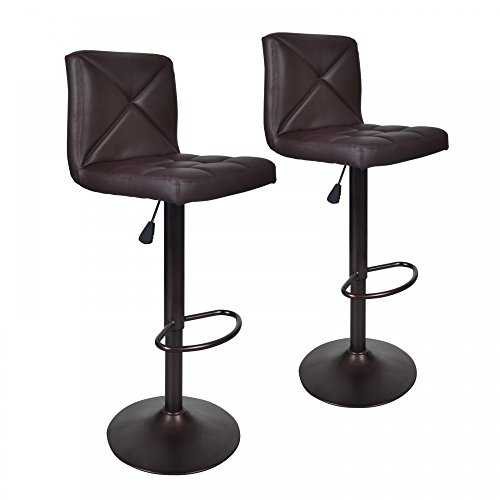 Brown 2 PU Leather Modern Adjustable Swivel Barstools Hydraulic Chair Bar Stools - Adjustable Bar Stool