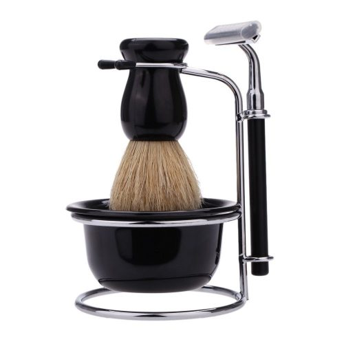 Anself 4pcs Men Shaving Set, Badger Hair Brush, Shaving Razor Holder Stand, Soap Bowl, Shaving Soap - Shaving Brush