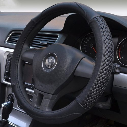 Moyishi Top Leather Steering Wheel Cover Universal Fit Soft Breathable Steering Wheel Wrap (Black) - steering wheel covers