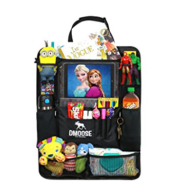 MCar Backseat Organizer with Tablet Holder for Kids and Toddlers by DMoose 24-Inch-by-19-Inch (Large) – Insulated Thermal Pockets, Strong Buckles - Use as Seat Back Protector, Kick Mat, Car Organizer - Car Back Seat Organizers