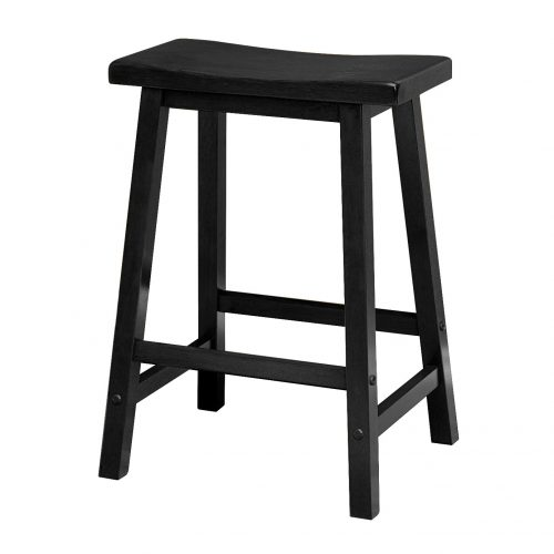 Winsome Wood 24-Inch Saddle Seat Counter Stool, Black - Wooden Stools