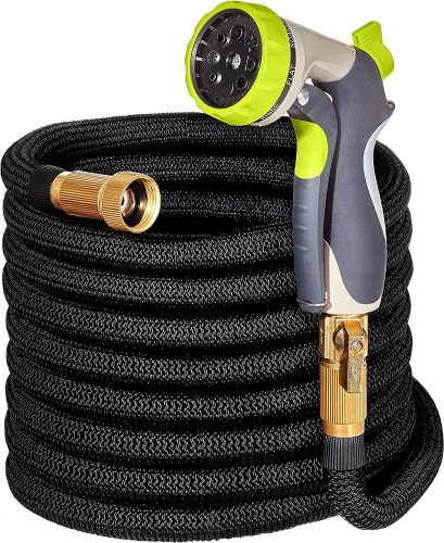 "50ft Garden Hose - ALL NEW Expandable Water Hose with Double Latex Core, 3/4"" Solid Brass Fittings, Extra Strength Fabric - Flexible Expanding Hose with Metal 8 Function Spray Nozzle by Hospaip - Garden Hoses"