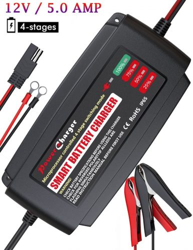 BMK 12V 5A Smart Battery Charger Portable Battery Maintainer with Detachable Alligator/Rings/Clips Fast Charging Waterproof Trickle Charger for Car Boat Lawn Mower Marine Sealed Lead Acid Battery - Car Battery Chargers