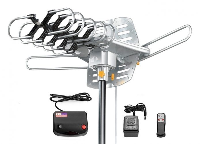 Amplified HD Digital Outdoor HDTV Antenna 150 Miles Long Range with Motorized 360 Degree Rotation, UHF/VHF/FM Radio with Infrared Remote Control - Long Range Outdoor HDTV Antennas