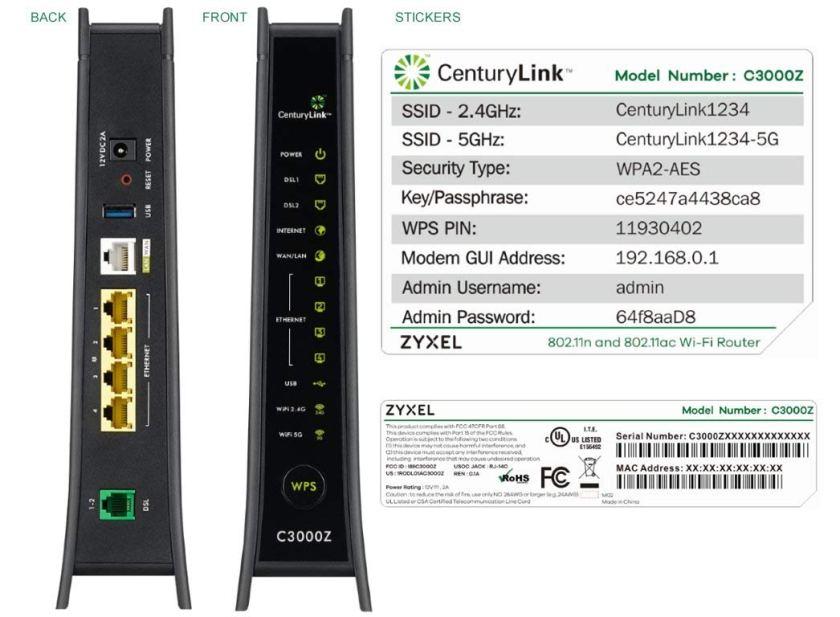 ZyXEL C3000Z Modem CenturyLink