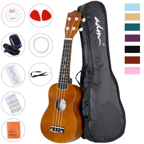 ADM Ukulele 21 Inch Soprano Wood Beginner Kit with Gig bag Tuner Fingerboard Sticker Chord card, Mocha
