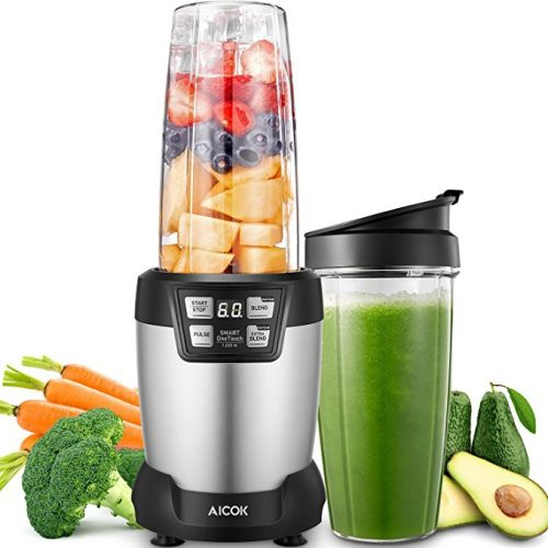 Aicok Smoothie Blender 1200 W, Personal Blender with 2 Tritan Travel Cups(1*35 oz and 1*28 oz), 28,000RPM High Speed Professional Blender, LED Smart One Touch, Silver - Smoothie Blenders