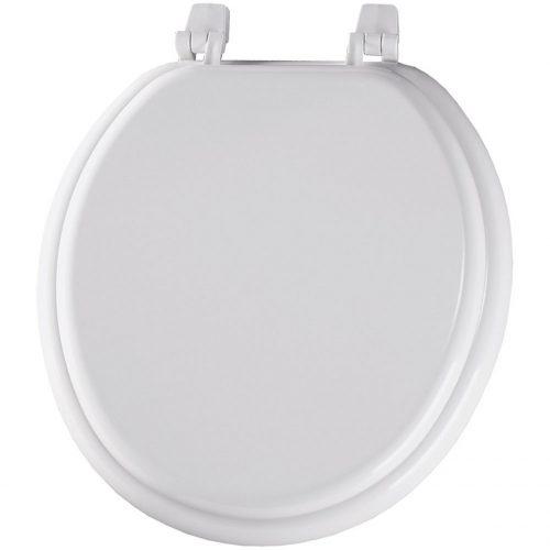 Bemis 400TTA000 Economy Molded Wood Round Toilet Seat, White - toilet seats
