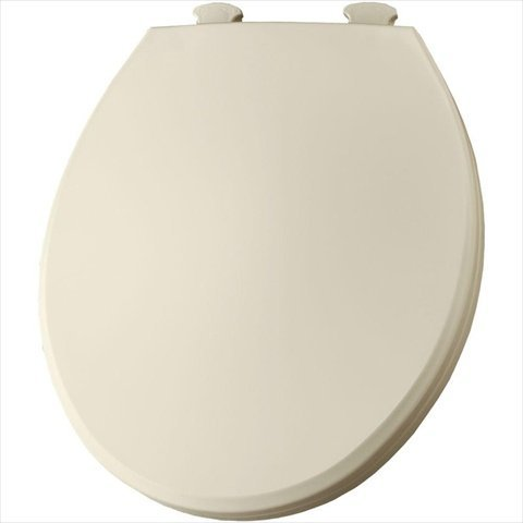 Bemis 800EC346 Plastic Round Toilet Seat with Easy Clean and Change Hinge Biscuit/Linen - toilet seats