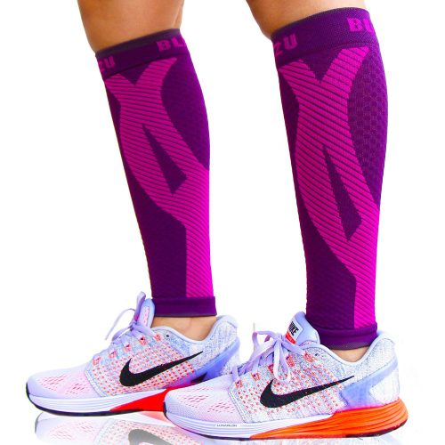 Blitzu Calf Compression Sleeve Socks [1 Pair] Improves Circulation and Recovery - Compression Leg Sleeves