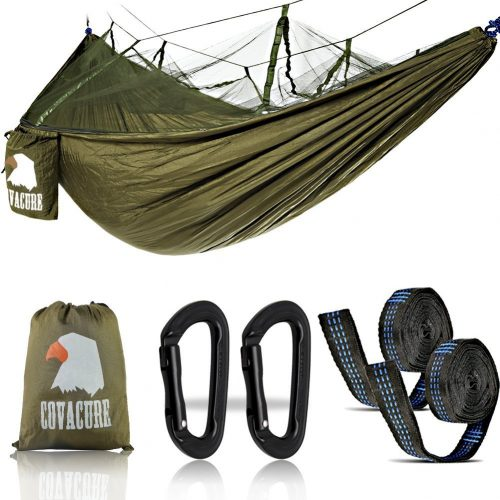 Covacure Camping Hammock Lightweight Portable Double Parachute Hammocks, Mosquito Nylon Hammock for Indoor,Outdoor, Hiking, Camping, Backpacking, Travel, Backyard, Beach - Hammocks With Mosquito Net