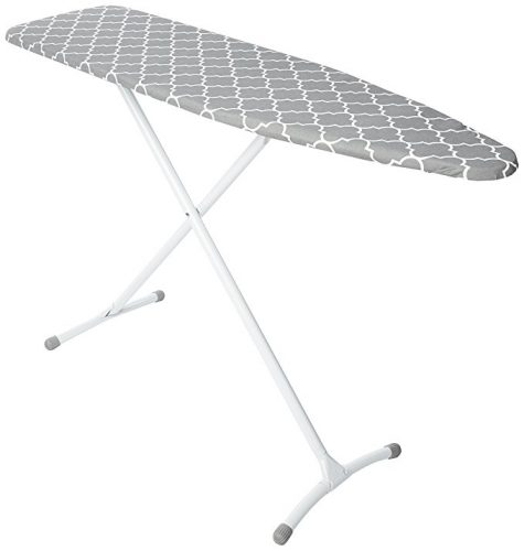 Homz Contour Steel Top Ironing Board, Extra Stable Legs, Grey & White Filigree Cover - Ironing Boards