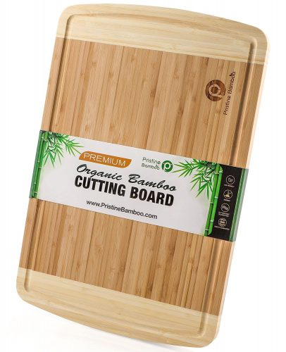 NON-SLIP, Extra Large Organic Bamboo Cutting Board| DEEP Juice Grooves | Wooden Chopping Board for Meat (Butcher Block),