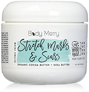 Stretch Marks & Scars Defense Cream- Daily Moisturizer w Organic Cocoa Butter + Shea + Plant Oils + Vitamins to Prevent, Reduce and Fade Away Old or New Scars Best for Pregnancy, Men/Bodybuilders - Stretch Mark Removal Creams