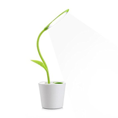iEGrow Flexible USB Touch LED Desk Lamp with 3-Level Dimmer and Decor Plant Pencil Holder(Green) - Desk Lamps