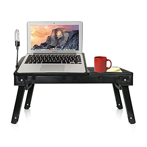 DG Sports Multi-Functional Laptop Table Stand with Internal Cooling Fan and Built-In LED Light
