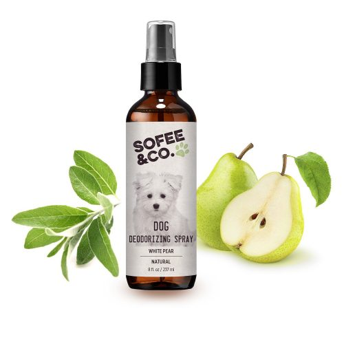 Natural Dog Deodorizing Spray, Freshener - White Pear - Neutralizes Eliminates Odors - Pet deodorizer, perfume, cologne. Use directly on pets, furniture, bedding, carpets, rugs. Non-toxic Cruelty-Free - Dog Deodorants