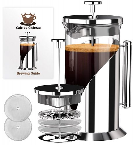 French Press Coffee Maker (8 cups, 34 oz) With 4 Level Filtration System, 304 Grade Stainless Steel, Heat Resistant Borosilicate Glass by Cafe Du Chateau