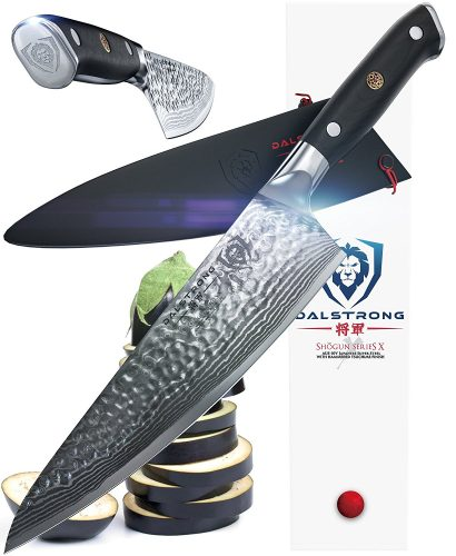 "DALSTRONG Chef's Knife - Shogun Series X Gyuto - Japanese AUS-10V - Vacuum-Treated - Hammered Finish - 8"" - w/ Guard"