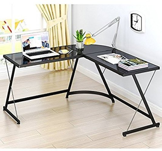 SHW L-Shaped Home Office Corner Desk - Glass Computer Desks
