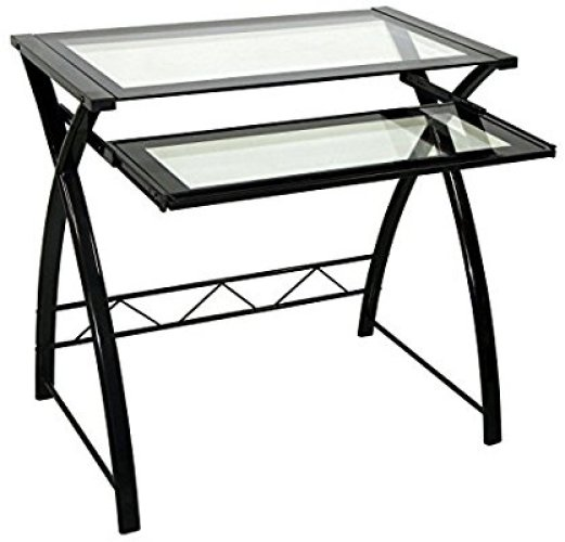 Bell'O CD8855 Computer Desk with Keyboard Tray, Black/Clear - Glass Computer Desks
