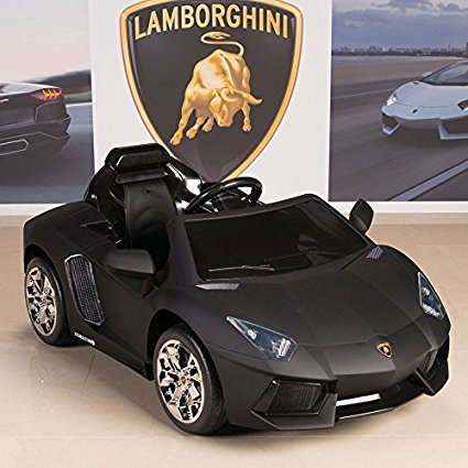 Lamborghini Aventador 12V Kids Ride On Battery Powered Wheels Car RC Remote Black - Electric Cars For Kids