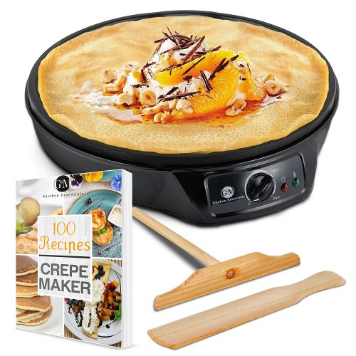 "Crepe Maker Machine Pancake Griddle – Nonstick 12"" Electric Griddle – BONUS 100 RECIPE COOKBOOK, Batter Spreader & Wooden Spatula – Also for Eggs, Bacon, Blintzes, Sausage – G&M Kitchen Essentials - Crepe Makers"