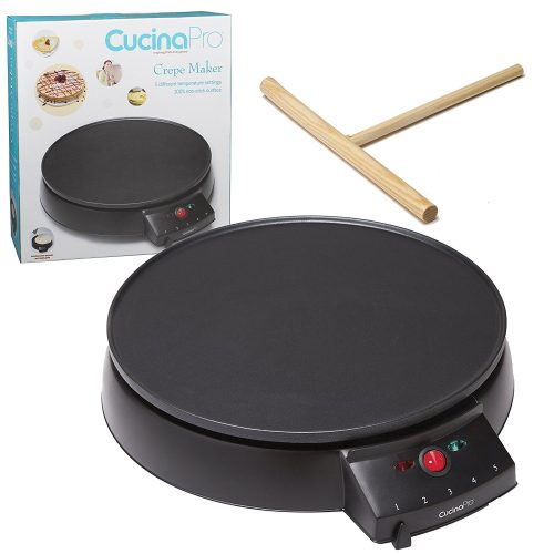 """Crepe Maker and Non-Stick 12"""" Griddle- Electric Crepe Pan with Spreader and Recipes Included- Also use for Blintzes, Eggs, Pancakes and More - Crepe Makers"""