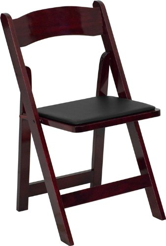 Flash Furniture HERCULES Series Mahogany Wood Folding Chair with Vinyl Padded Seat - Wooden Folding Chairs