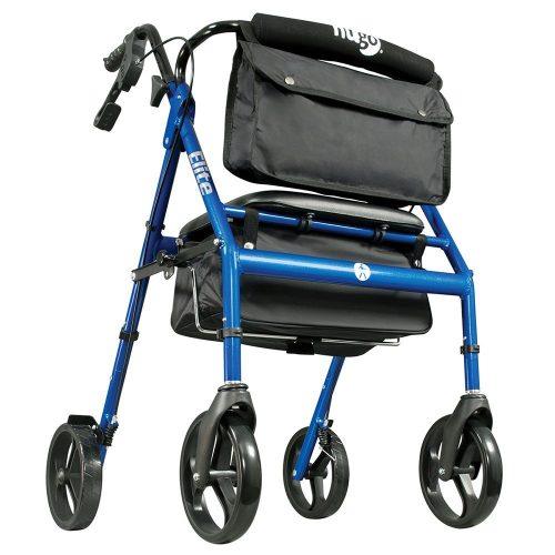 Hugo Elite Rollator Walker with Seat, Backrest and Saddle Bag, Blue - Rollator Walkers with Seat