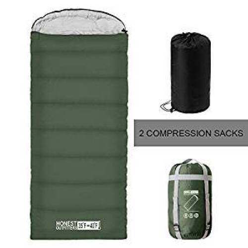 """8. """"HONEST OUTFITTERS Sleeping Bag with Compression Sack, Envelope Portable and Lightweight for 3-4 Season Camping, Hiking, Traveling, Backpacking and Outdoor Activities Bottle Green (SINGLE)"""" - Sleeping Bags"""